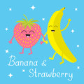 Banana and strawberry. Sparkles on blue. Happy fruit set. Smiling face. Cartoon smiling character with eyes. Friends forever. Baby Royalty Free Stock Photo
