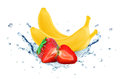 Banana and strawberry splash water Royalty Free Stock Photo