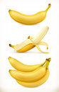 Banana. Sweet fruit. 3d vector icons set