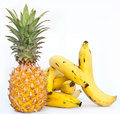 Bananas with ananas few on white background Royalty Free Stock Photography