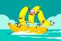 Bananas on banana boat Royalty Free Stock Photo