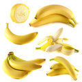 Bananas collection on white background set Royalty Free Stock Photos
