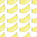 Bananas drawn in Japanese cartoon style seamless vector background
