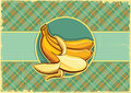 Bananas label vintage fruits background old paper texture Stock Images