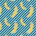 Bananas Pattern On Stripes Bac...