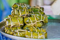 Bananas in sticky rice, Thai food Stock Photography