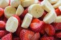 Bananas and strawberries Royalty Free Stock Photo