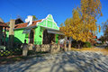Banat house typical lit by the autumn sun Stock Images
