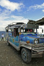 Banaue to batad jeepney philippines jan parked on the road on jan in jeepneys are popular and cheap form of robust public Stock Photography