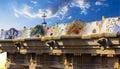 Banc de mosaïque en parc guell point de repère de barcelone espagne Photographie stock