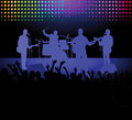 Band and crowd at a rock concert illustration of playing with in the foreground Royalty Free Stock Photos