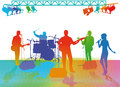 Band playing on stage abstract illustration of under lights white background Stock Images