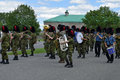 Band rehearsing changing of the guard at The Citadelle, Quebec. Royalty Free Stock Photo