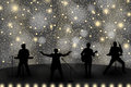 Band show concept with yellow light and stars. Set of silhouettes of musicians, singers and dancers