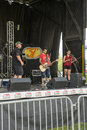 Band on stage picture of in preparation during woodstock family event Royalty Free Stock Photo