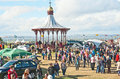 Band stand and crowds at nairn highland games held on th august Stock Photos