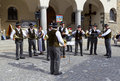 Band of swiss musicians playing in Zermatt streets Royalty Free Stock Image