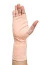 Bandage hand in elastic isolated on white background Stock Photo
