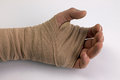 Bandaged hand a after accident or injury Stock Image