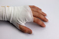 Bandaged hand a after accident or injury Royalty Free Stock Photo
