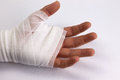 Bandaged hand a after accident or injury Stock Photo
