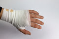Bandaged hand a after accident or injury Royalty Free Stock Image