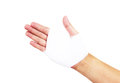 Bandaged hand isolated with clipping path on white Royalty Free Stock Photo