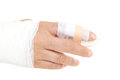 Bandaged hand to prevent infection and improve healing Stock Image