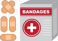 Bandages box isolated with band aids Royalty Free Stock Photos