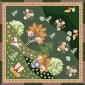 Bandana print with cute cartoon unicorn, funny foxes and magic dove in the forest. Decorative border