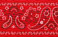 Bandana red close up with flower paisley design Royalty Free Stock Images
