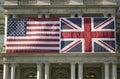 Bandeira americana montada horizontalmente ao lado da união jack british flag Imagens de Stock Royalty Free