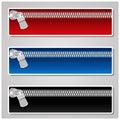 Bandeiras da cor com zipper Fotografia de Stock