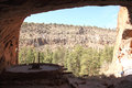 Bandelier national monument from alcove house on ceremonial cave to view frijoles canyon Stock Photo