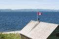 Bandera canadiense en fuerte viento Imágenes de archivo libres de regalías