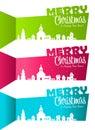 Banderas de la Navidad con la aldea de la silueta Fotos de archivo libres de regalías