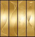 Banderas de oro fijadas Imágenes de archivo libres de regalías