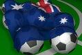 Bandierina e calcio-sfere di 3D-rendering Australia Fotografia Stock