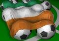 Bandierina e calcio-sfere di 3D-rendering Ivory Coast Fotografie Stock Libere da Diritti
