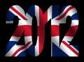 Bandierina e testo britannici 2012 Fotografie Stock