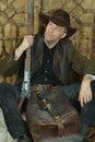 Bandit man with gun Royalty Free Stock Photo