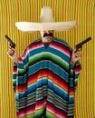 Bandit Mexican revolver mustache gunman sombrero Royalty Free Stock Photo