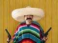 Bandit Mexican revolver mustache gunman sombrero Royalty Free Stock Photo