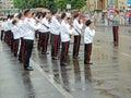 Bandmaster and his marching band Royalty Free Stock Photo