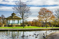 Bandstand and duck pond in Greenhead park Royalty Free Stock Photo