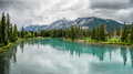 BANFF, ALBERTA/CANADA - AUGUST 8 : Bow River at Banff on August Royalty Free Stock Photo