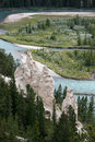 Banff alberta canada august bow river and the hoodoos nea near in canadian rockies on Stock Photos