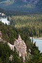 Banff alberta canada august bow river and the hoodoos nea near in canadian rockies on Royalty Free Stock Images