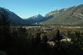 Banff alberta canada early morning view of the town of from mount norquay Royalty Free Stock Image