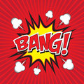 Bang comic word wording in speech bubble in pop art style on burst background Stock Photo